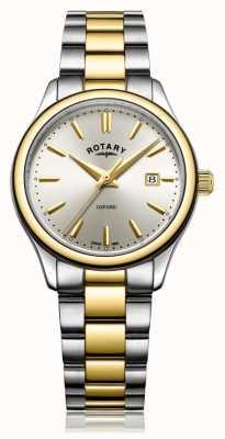 Rotary Dames oxford two tone gouden zilveren armband horloge LB05093/03