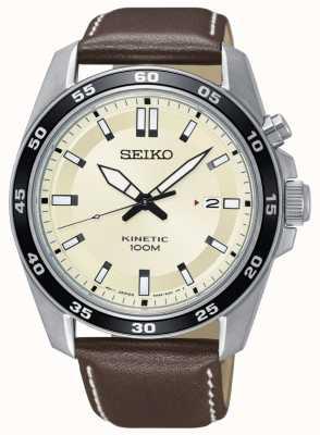 Seiko Heren kinetisch horloge bruine lederen band crème wijzerplaat SKA787P1