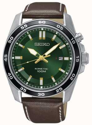 Seiko Heren kinetisch horloge bruin lederen band groene wijzerplaat SKA791P1