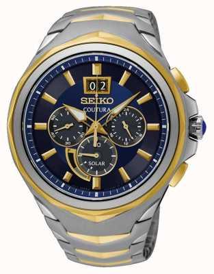 Seiko Coutura tweekleurige roestvrijstalen armband met blauwe wijzerplaat SSC642P1