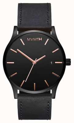 MVMT Klassiek zwart roze leer | zwarte band | zwarte wijzerplaat D-MM01-BBRGL
