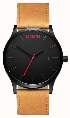 MVMT Klassieke zwarte kleur | bruine leren band | zwarte wijzerplaat D-L213.5L.351