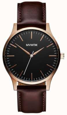MVMT 40 series rosé goudbruin | bruine band | zwarte wijzerplaat D-MT01-BLBR
