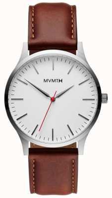 MVMT 40-serie zilver natuurlijke tan | bruine riem | zilveren wijzerplaat D-MT01-SNA