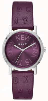 DKNY Dames soho paars lederen wijzerplaathorloge NY2762