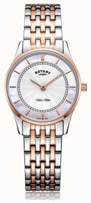 Rotary Womens ultra dunne two tone armband parelmoer wijzerplaat LB08302/02