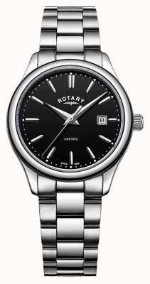 Rotary Dames oxford roestvrij stalen armband zwarte wijzerplaat datum LB05092/04