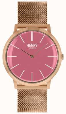 Henry London Iconische roze wijzerplaat rosegouden armband HL40-M-0312