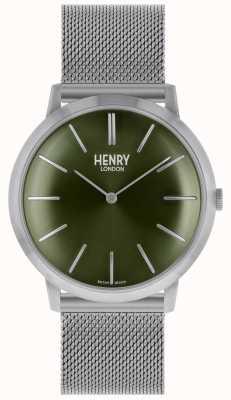 Henry London Iconische groene wijzerplaat met zilverkleurige mesh HL40-M-0253