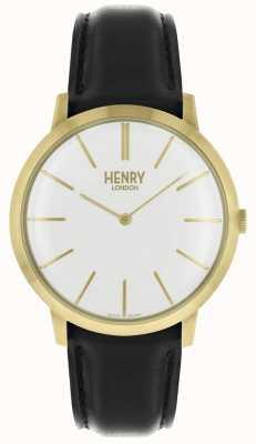 Henry London Iconische witte wijzerplaat zwarte lederen band goudkleurig etui HL40-S-0238
