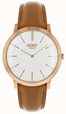 Henry London Iconische witte wijzerplaat kleurige lederen band met rose band HL40-S-0240