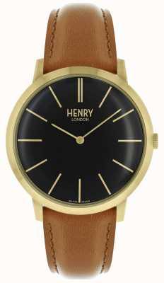 Henry London Iconische zwarte wijzerplaat kleurige goudkleurige lederen band HL40-S-0242