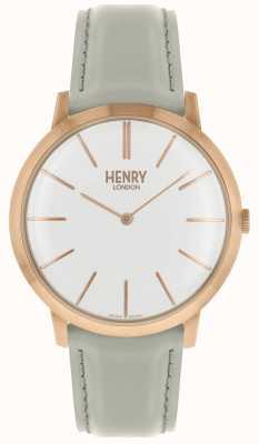 Henry London Iconische witte wijzerplaat met witte wijzerplaat en lederen band HL40-S-0290