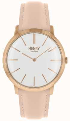 Henry London Iconische witte wijzerplaat met roze lederen band HL40-S-0288