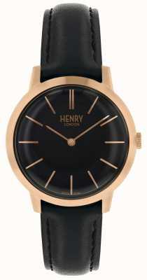 Henry London Iconisch zwart horloge met zwarte wijzerplaat en zwarte lederen band HL34-S-0218
