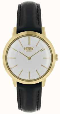 Henry London Iconisch damesshirt met witte wijzerplaat zwart lederen band HL34-S-0214