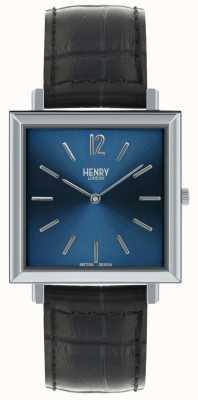 Henry London Heritage heren vierkante wijzerplaat in blauw wijzers zwart leer HL34-QS-0267