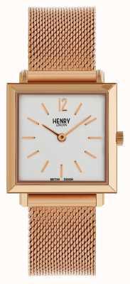 Henry London Het petite vierkante horloge rose gold mesh van Heritage Womens HL26-QM-0264