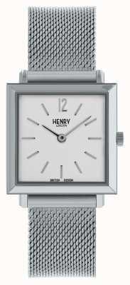 Henry London Heritage dames petite square horloge | zilveren gaasband | HL26-QM-0265
