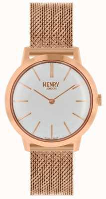 Henry London Iconische dameshorloge rosé gouden mesh armband witte wijzerplaat HL34-M-0230