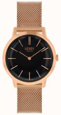 Henry London Iconisch roségoud horloge met zwarte wijzerplaat HL34-M-0234