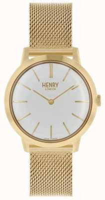 Henry London Iconische dameshorloge gouden wijzerplaat witte wijzerplaat HL34-M-0232