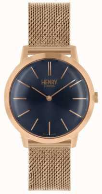 Henry London Iconische dameshorloge rose gouden mesh armband blauwe wijzerplaat HL34-M-0292