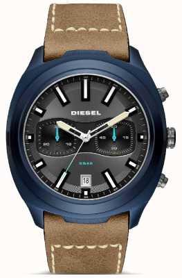 Diesel Heren tumbler blauwe kast bruin lederen band horloge DZ4490