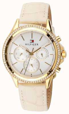Tommy Hilfiger Multifunctionele beige lederen dames vergulde kristallen set 1781982
