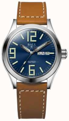 Ball Watch Company Engineer ii genesis blue dial tan lederen band dag & datum NM2026C-LBR7-BE