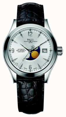 Ball Watch Company Ohio maanfase automatische zilveren datum display lederen band NM2082C-LJ-SL