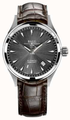 Ball Watch Company Trainmaster legende grijze sunray wijzerplaat bruine lederen band NM3080D-LJ-GY
