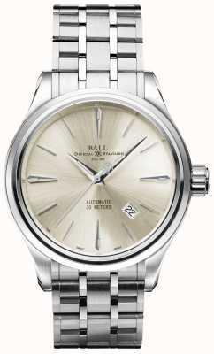 Ball Watch Company Trainmaster legende automatische crèmewiel roestvrijstalen datum NM3080D-SJ-SL