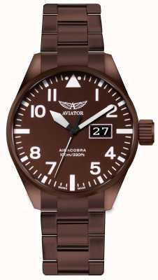 Aviator Airobra p42 brons gecoat stalen horloge voor heren V.1.22.8.151.5