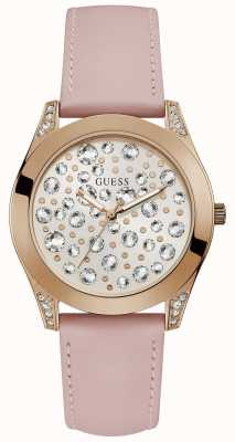 Guess Womens wonderlust stone studded wijzerplaat roze W1065L1