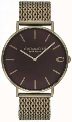 Coach Herenhorloge van charles bronze mesh bracelet 14602147