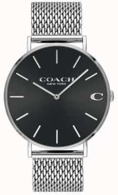 Coach Heren charles zilveren gaas armband zwarte wijzerplaat horloge 14602144