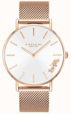 Coach Dames perry rosé gouden mesh armband horloge 14503126