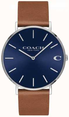 Coach Charles heren bruine lederen band blauwe wijzerplaat 14602151