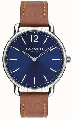 Coach Mens delancey slim watch blauwe wijzerplaat lederen band 14602345