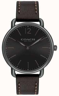 Coach Mens delancey slim horloge zwarte wijzerplaat zwarte leren band 14602346