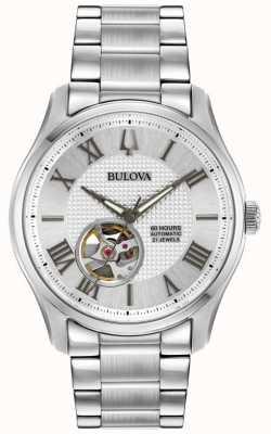 Bulova Mens wilton automatisch roestvrijstalen zilveren horloge 96A207