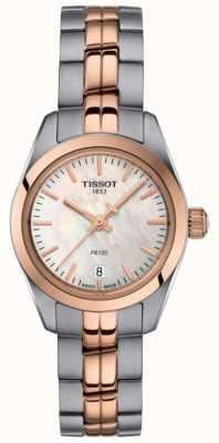 Tissot Dames pr100 two tone armband parelmoer wijzerplaathorloge T1010102211101