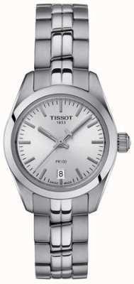 Tissot Dames pr100 roestvrij stalen armband zilveren wijzerplaathorloge T1010101103100
