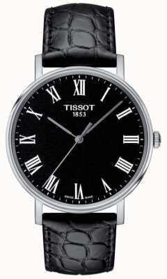 Tissot Heren altijd zwarte leren wijzerplaat met reliëf T1094101605300