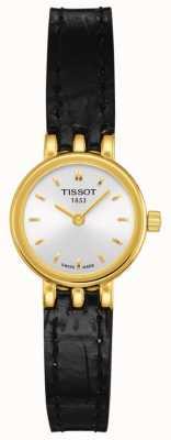 Tissot Mooie lederen armband van dames, verguld met kwarts T0580093603100