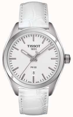Tissot PR100 witte lederen band dames wijzerplaat zilver T1012101603100