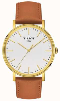 Tissot Dames bella ora vergulde tan lederen band T1094103603100