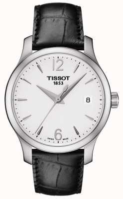 Tissot Womens traditie zilveren wijzerplaat zwart lederen band T0632101603700