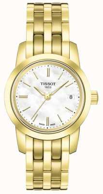 Tissot Dames klassieke parelmoer wijzerplaat vergulde armband T0332103311100